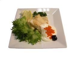 Филе морского языка с икорном соусом