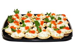 """""""Морской"""" кальмар, яйцо, картофель, корнишон, майонез, икра красная"""